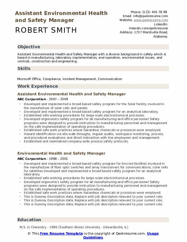 environmental health and safety manager resume samples qwikresume examples pdf mba Resume Environmental Manager Resume Examples
