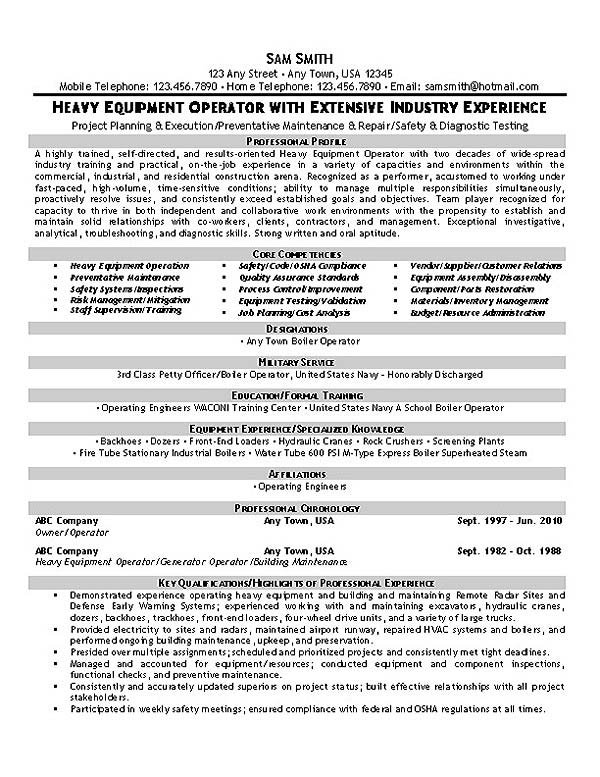 equipment operator resume example heavy supervisor operator1 the perfect template sap Resume Heavy Equipment Operator Supervisor Resume