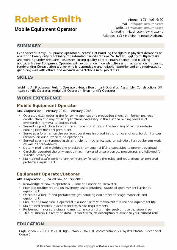 equipment operator resume samples qwikresume heavy supervisor pdf for freshers quora Resume Heavy Equipment Operator Supervisor Resume