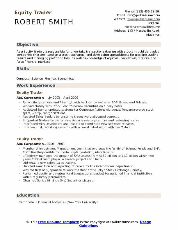 equity trader resume samples qwikresume stock market pdf contract position on example Resume Stock Market Trader Resume