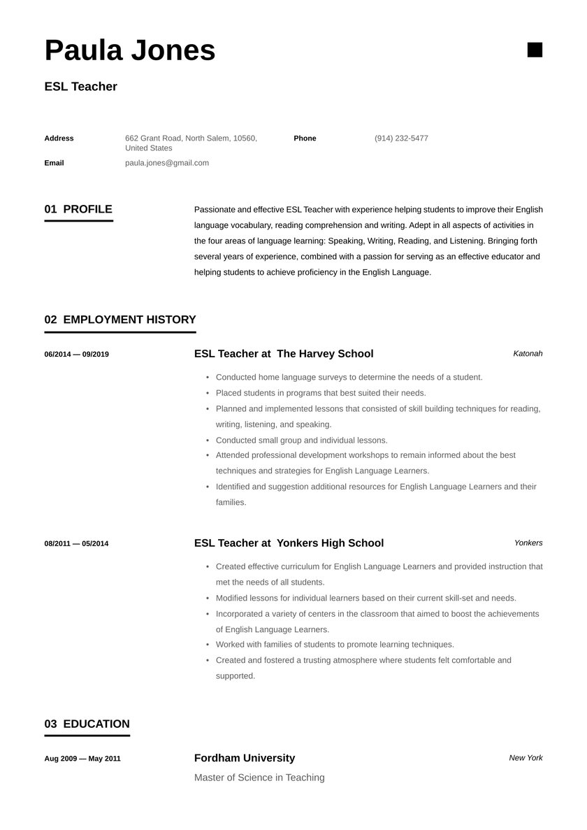 esl teacher resume examples writing tips free guide io professional development truck Resume Teacher Resume Professional Development