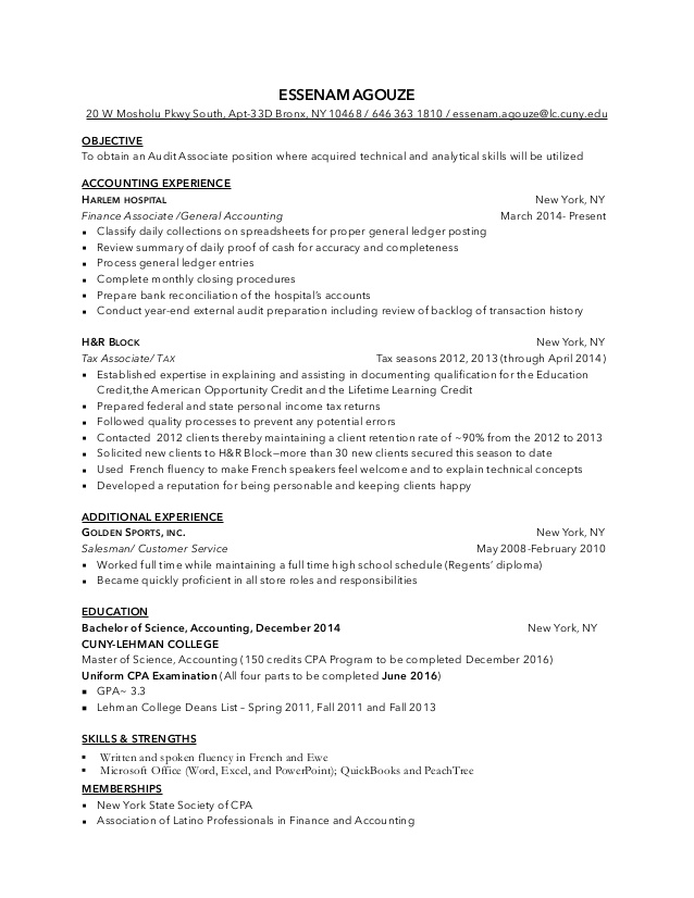 esse audit associate resume block tax master grower examples good objective for teaching Resume H&r Block Tax Associate Resume