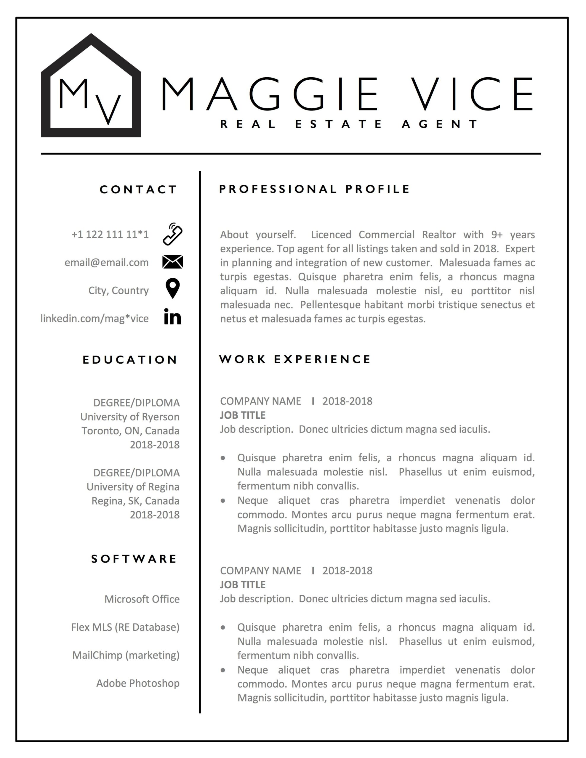 estate agent resume template realtor cv commercial examples free cover letter layout Resume Real Estate Resume Examples Free