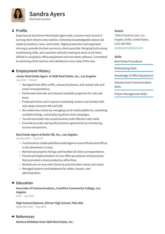 estate assistant resume examples writing tips free guide io shift manager description for Resume Real Estate Resume Examples Free