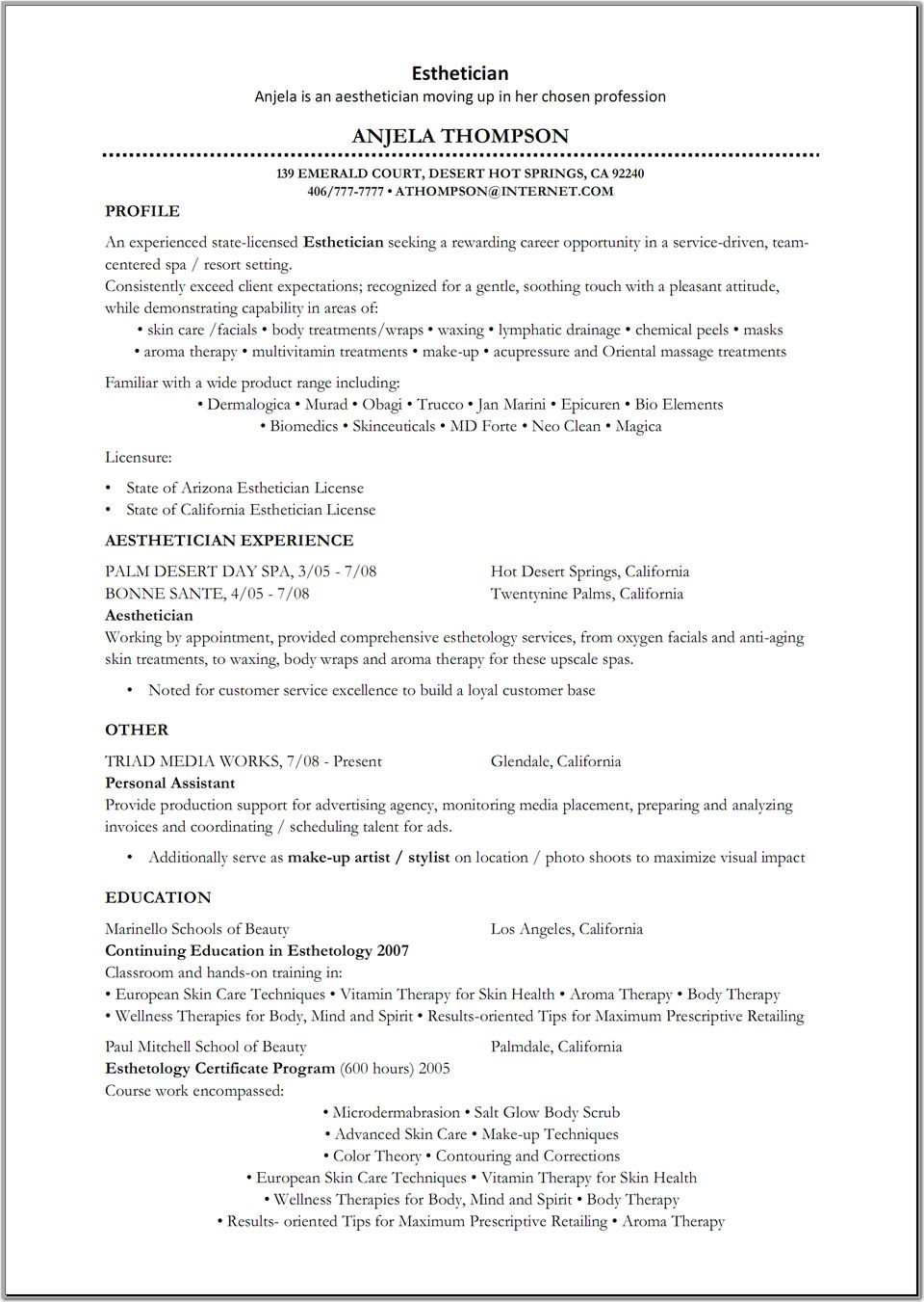 esthetician resume cover letter for medical pace university career services inspiration Resume Medical Esthetician Resume