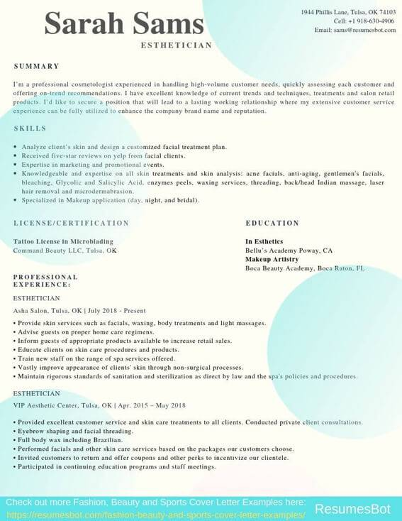 esthetician resume samples templates pdf resumes bot medical example collector sample Resume Medical Esthetician Resume