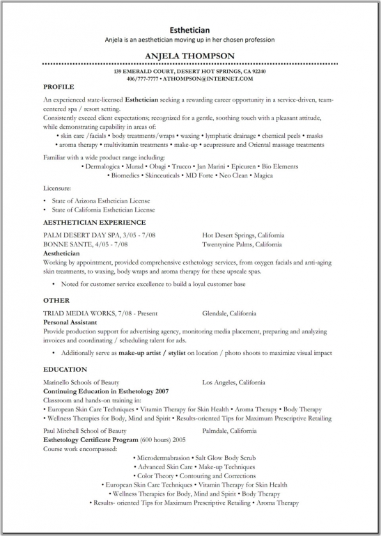 esthetician student resume examples best medical samples objective by anjela thompson Resume Medical Esthetician Resume
