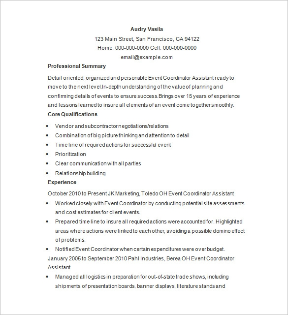 event manager resume sample planner examples freshers for ngo good computer science job Resume Event Planner Resume Examples