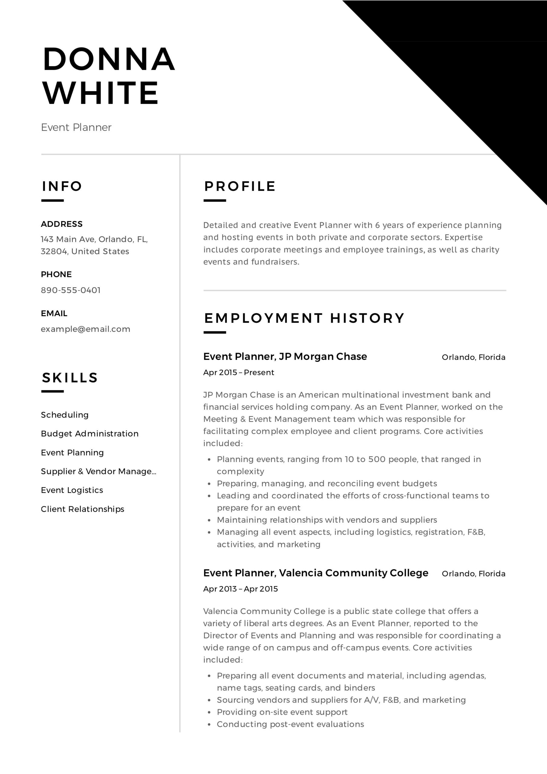 event planner resume professional examples reply email for sending entry level bartender Resume Event Planner Resume Examples