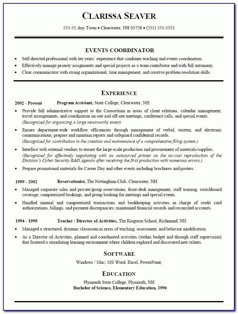 event planner resume template special events pertaining to coordinator sample Resume Event Planner Resume Examples