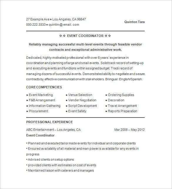 event planner resume templates pdf free premium examples events coordinator example entry Resume Event Planner Resume Examples