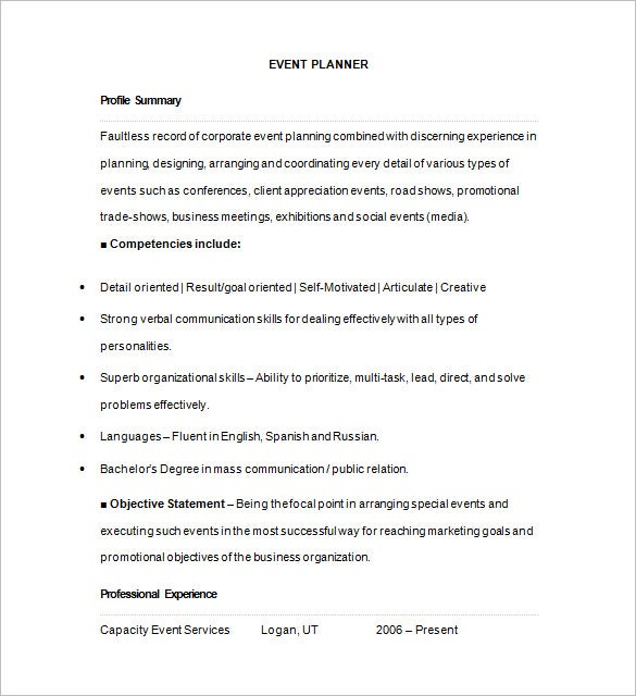 event planner resume templates pdf free premium management for freshers bullet examples Resume Event Management Resume For Freshers