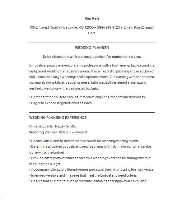 event planner resume templates pdf free premium management for freshers wedding relevant Resume Event Management Resume For Freshers