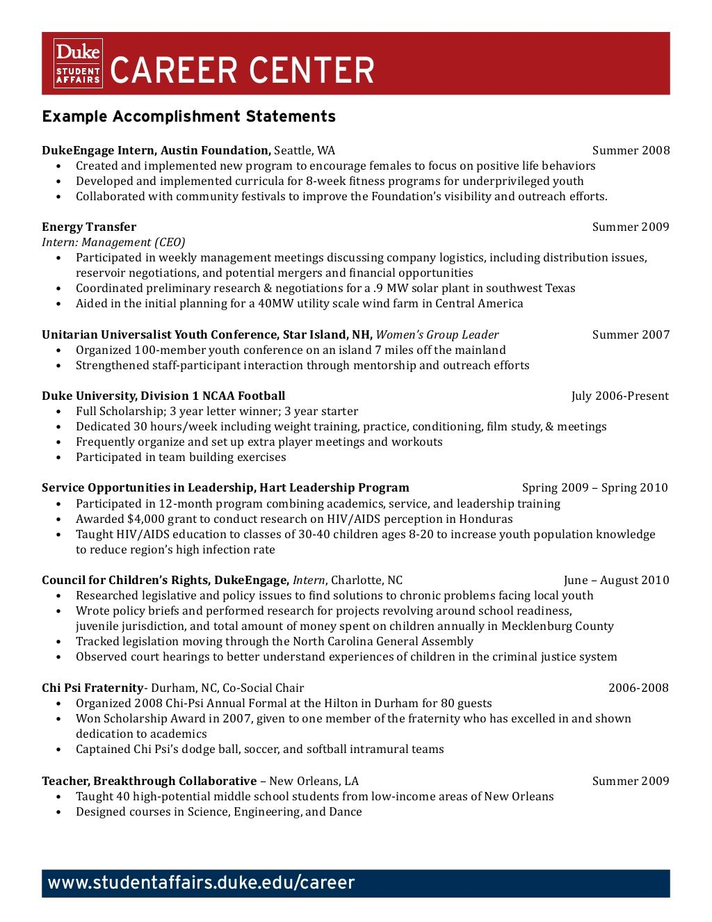 example accomplishment statements career counseling resources good resume examples based Resume Accomplishment Based Resume Examples