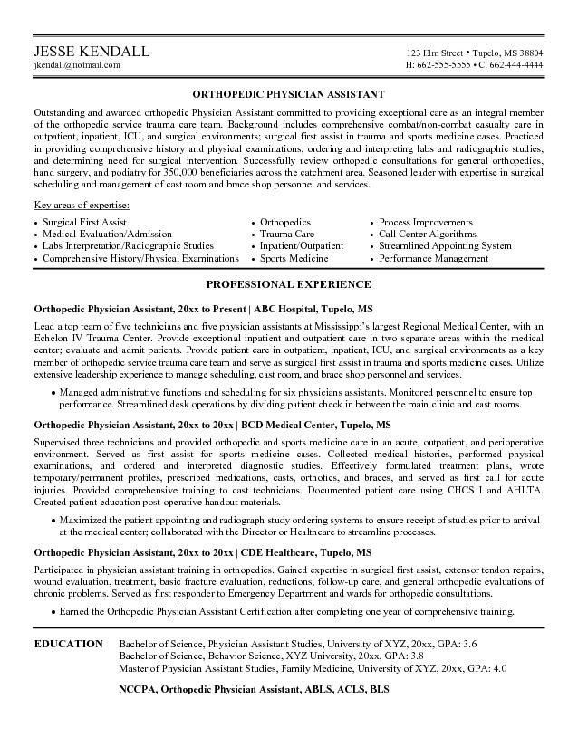 example orthopedic physician assistant resume free sample medical template examples job Resume Physician Assistant Resume Job Description