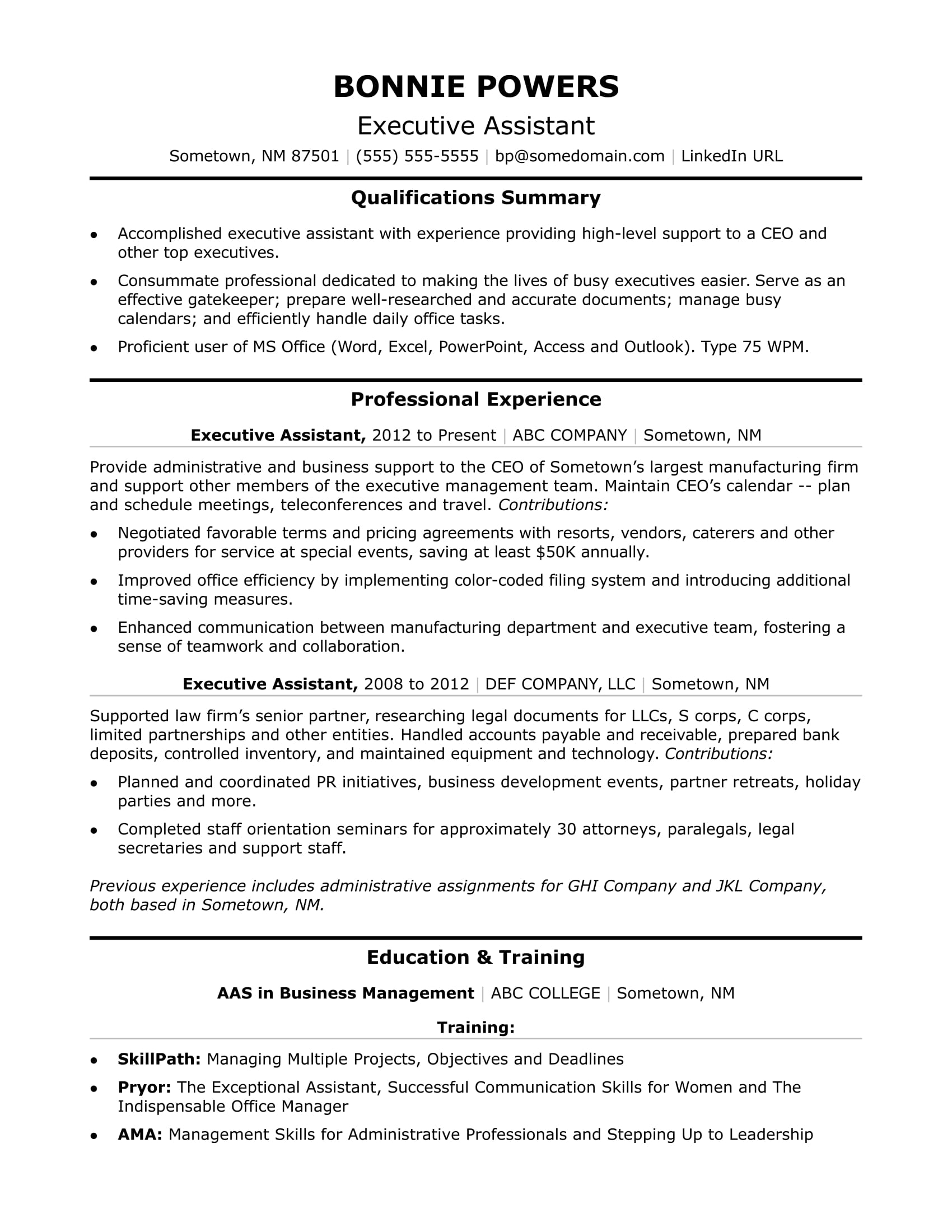 executive administrative assistant resume sample monster professional template work Resume Executive Professional Resume Template