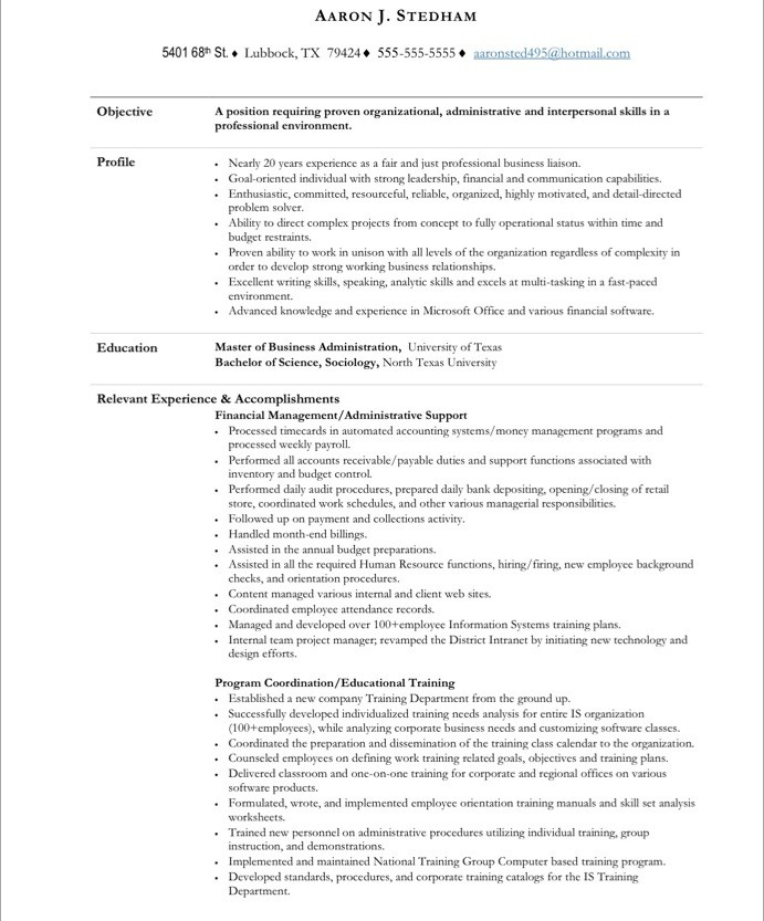 executive assistant free resume samples blue sky resumes professional template 20before Resume Executive Professional Resume Template
