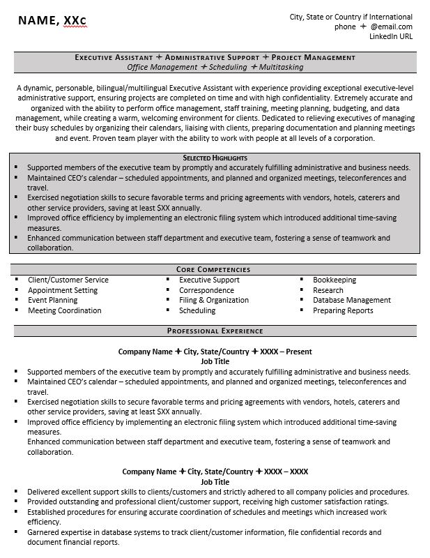 executive assistant resume example tips to writing one core qualifications best headline Resume Executive Core Qualifications Resume