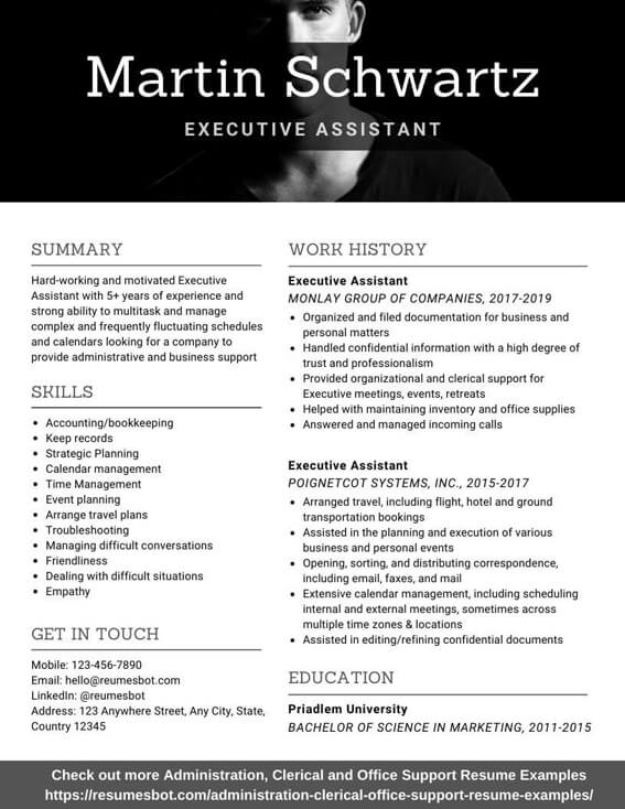 executive assistant resume samples and tips pdf resumes bot personal example software Resume Personal Assistant Example Resume