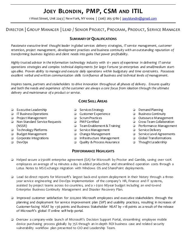 executive resume cv joey blondin delivery director career goals for teachers cpc examples Resume Delivery Director Resume