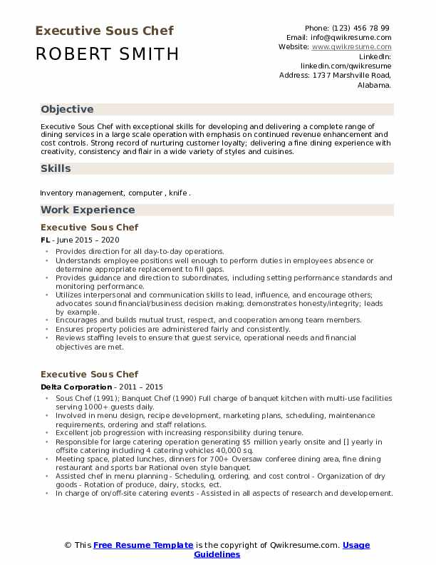 executive sous chef resume samples qwikresume free pdf folder template for teacher aide Resume Free Sous Chef Resume Samples