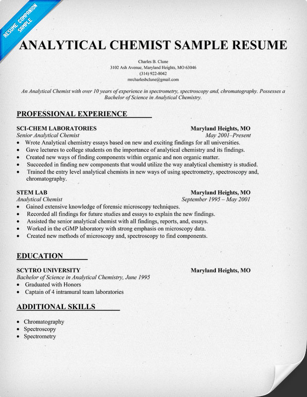 experienced quality control chemist resume chemistry skills for analytical example olivia Resume Chemistry Skills For Resume