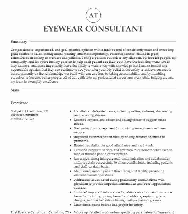 eyewear consultant resume example lenscrafters effective for freshers stating objective Resume Eyewear Consultant Resume