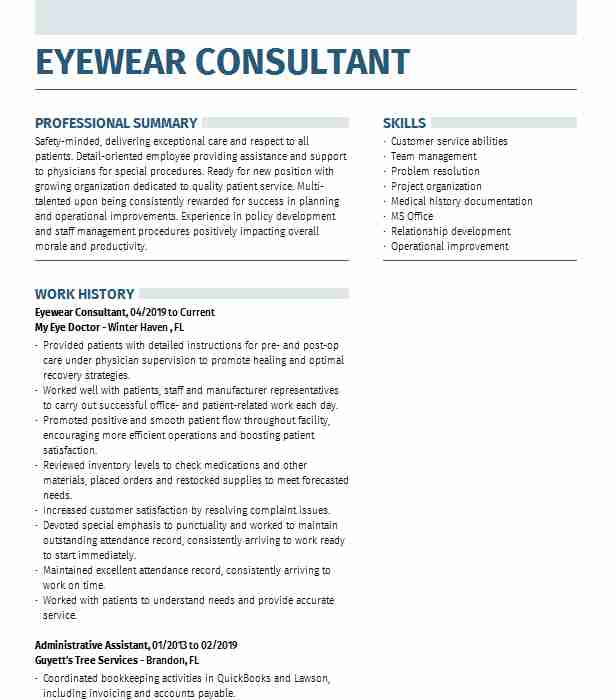 eyewear consultant resume example lenscrafters woodbridge stating objective on social Resume Eyewear Consultant Resume
