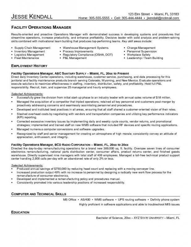 facilities manager resume sample template cover letter for operations management Resume Distribution Operations Manager Resume Sample