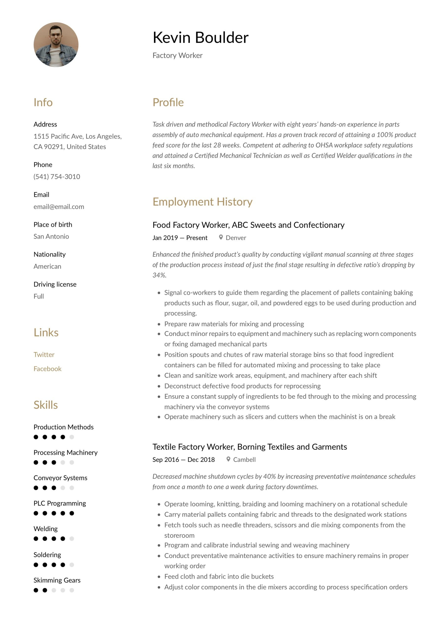 factory worker resume writing guide examples create on microsoft word front office Resume Factory Worker Resume Examples