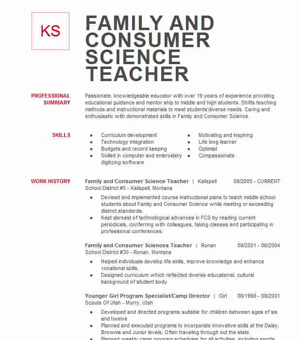 family and consumer science teacher resume example high school humble areas of strength Resume Family And Consumer Science Teacher Resume