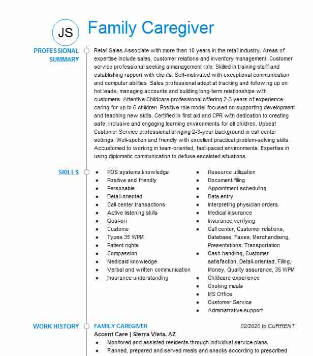 family caregiver resume example and friends caring for member on bsa compliance officer Resume Caring For Family Member On Resume