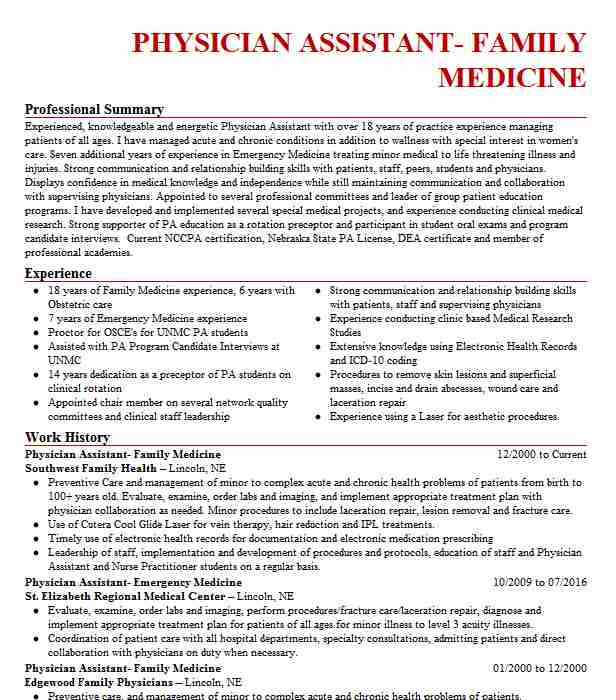 family medicine physician assistant resume example penn state health and community felton Resume Physician Assistant Resume Job Description