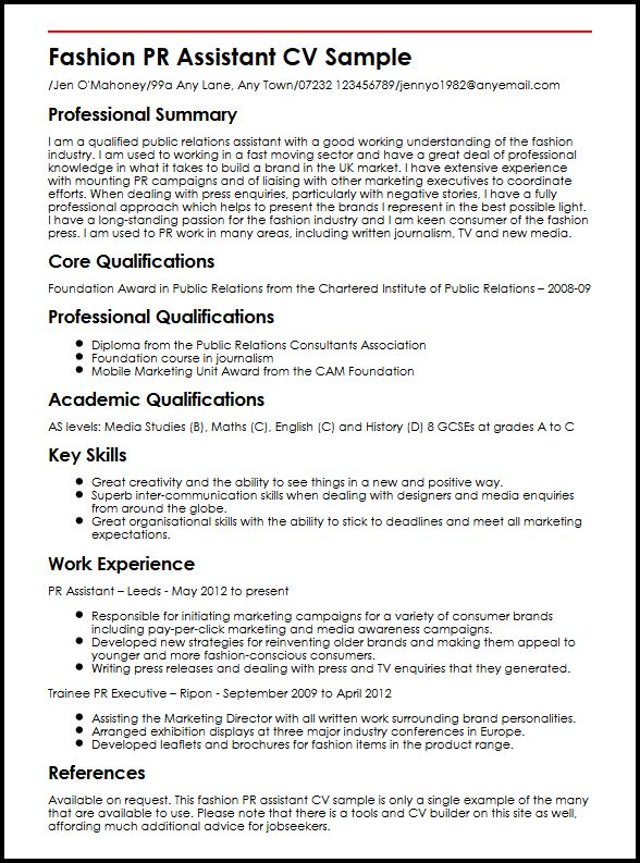 fashion pr assistant cv example myperfectcv resume examples sample permanent resident Resume Fashion Resume Examples