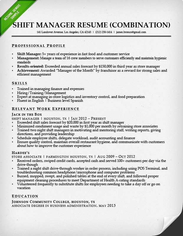 fast food shift manager combination resume sample mountain view mirror description for Resume Shift Manager Description For Resume