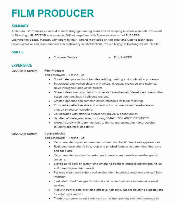 feature film producer resume example the farm creative new freelance music teacher Resume Freelance Music Producer Resume