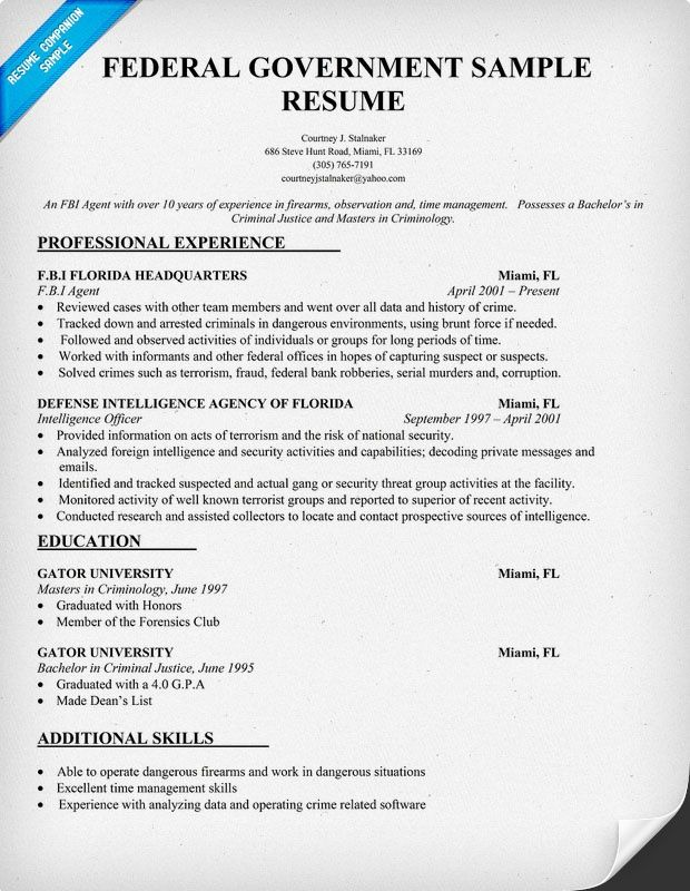 federal government resume template resumecompanion job examples teacher free samples gym Resume Free Federal Resume Samples