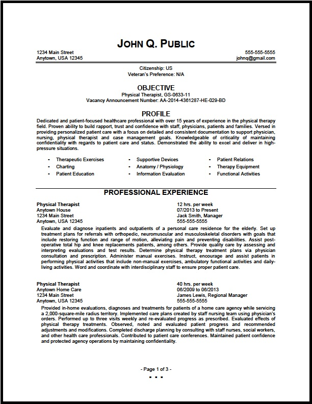federal physical therapist resume sample the clinic therapy bullet examples and Resume Sample Physical Therapy Resume