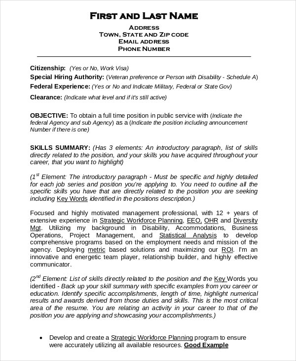 federal resume template free word excel pdf format premium templates sample for summer Resume Free Federal Resume Template