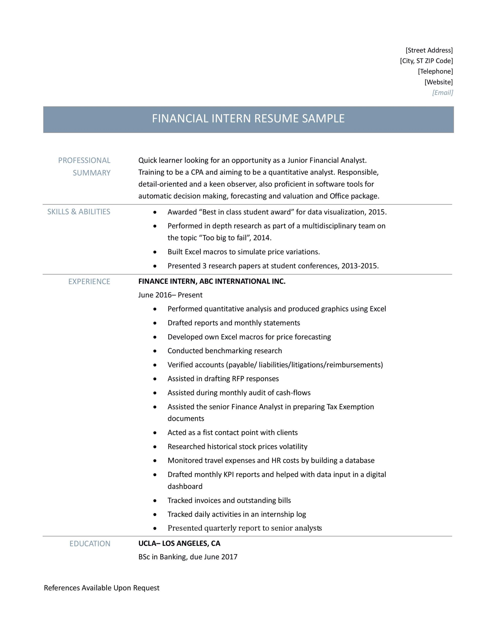 finance intern resume samples tips and templates by builders medium job description for Resume Finance Intern Job Description For Resume