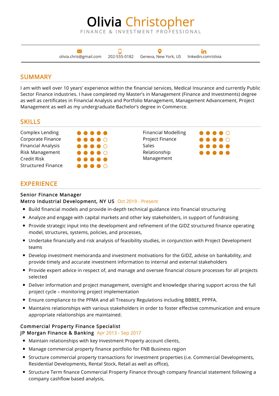 finance investment resume example cv sample resumekraft professional format and startwire Resume Finance Professional Resume Format
