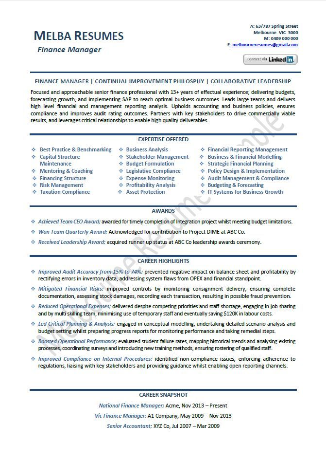 finance manager resume example template director sample samples across all industr Resume Finance Professional Resume Format