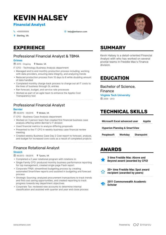 financial analyst resume example for enhancv objective high profile nanny communication Resume Financial Analyst Resume Objective