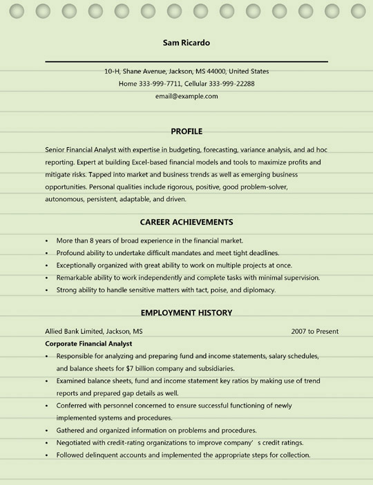 financial analyst resume examples ms word format objective sample electrical engineering Resume Financial Analyst Resume Objective