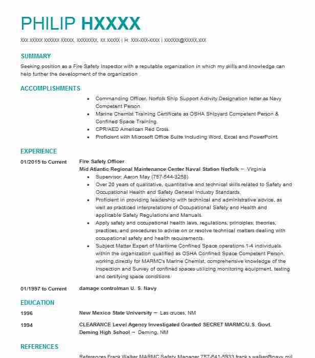 fire safety officer resume example resumes livecareer experience resignation letter Resume Safety Experience Resume