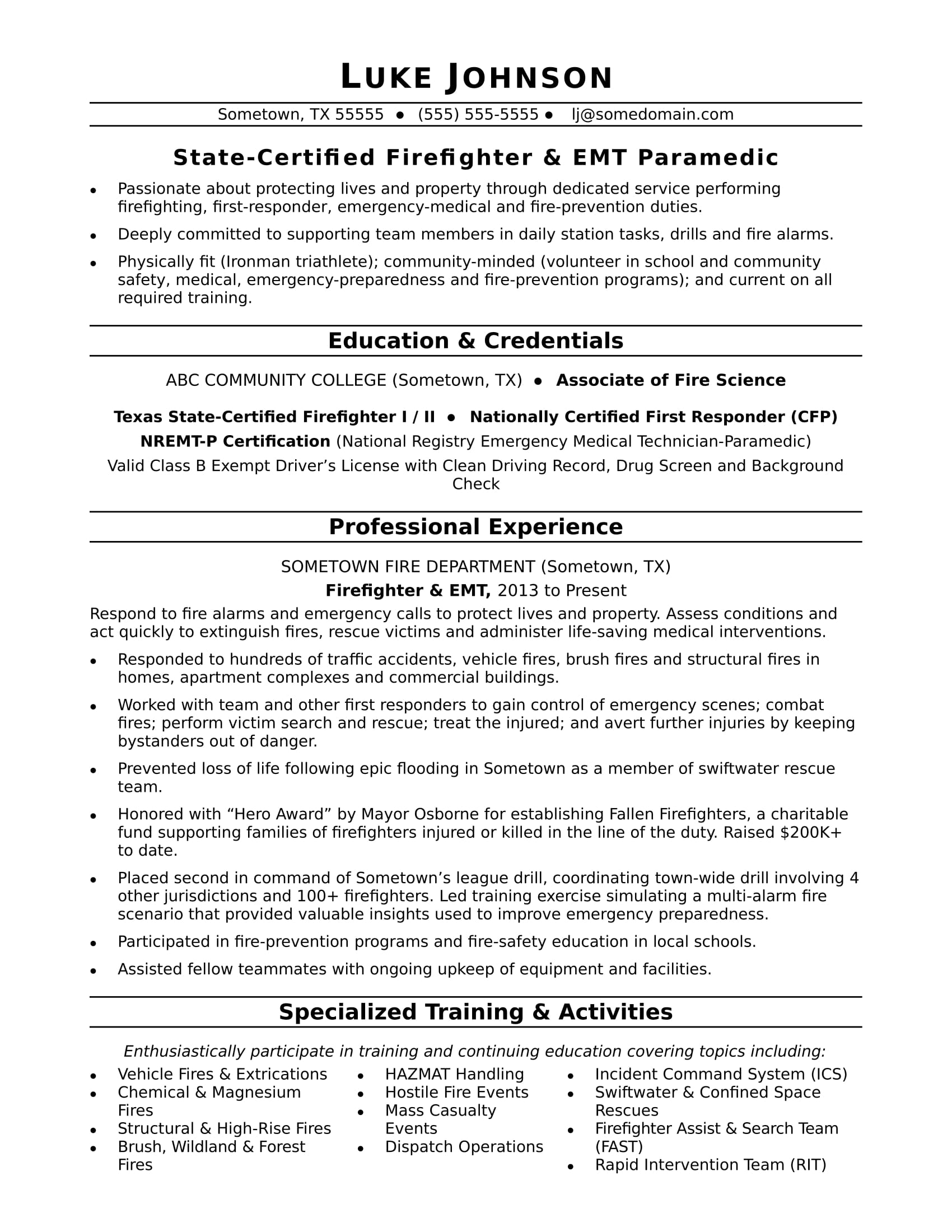 firefighter resume sample monster skills and activities example peer support specialist Resume Skills And Activities Resume Example