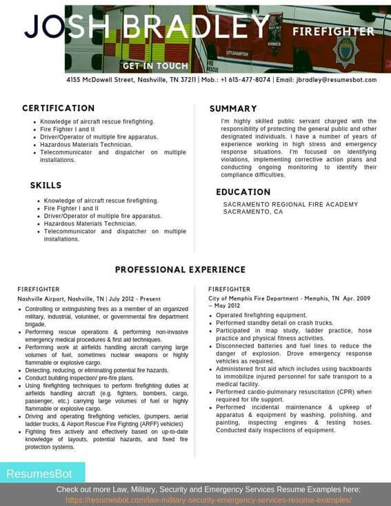 firefighter resume samples and tips pdf resumes bot fire department example driver Resume Fire Department Resume Samples
