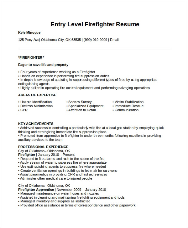 firefighter resume templates pdf free premium fire department samples entry level Resume Fire Department Resume Samples