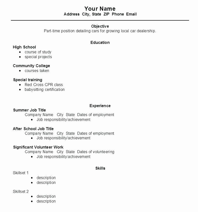 first time resume template awesome work for high school student wikirian job samples Resume Resume For First Time Job Teenager
