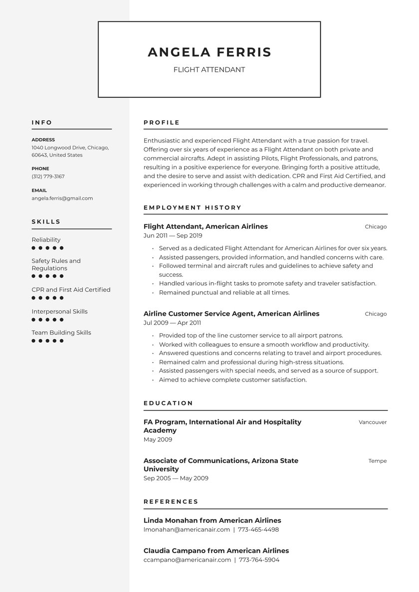 flight attendant resume examples writing tips free guide io entry level sample for front Resume Entry Level Flight Attendant Resume